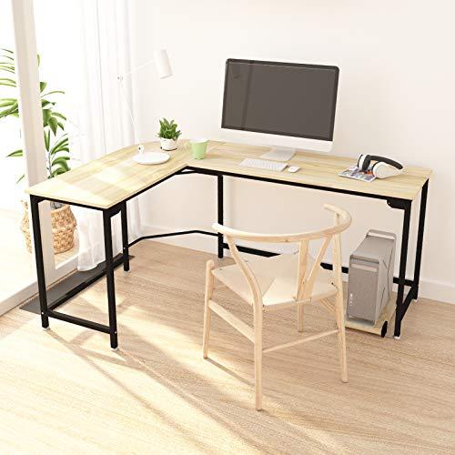 Hago Modern L-Shaped Desk Corner Computer Desk Home Office Study Workstation Wood & Steel PC Laptop...