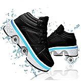 HealHeatersⓇ Deformación Patines Automática De Skate Zapatillas Invisible De Polea De Zapatos Multifuncional Deformación Zapatillas con USB Carga,Led Black,35