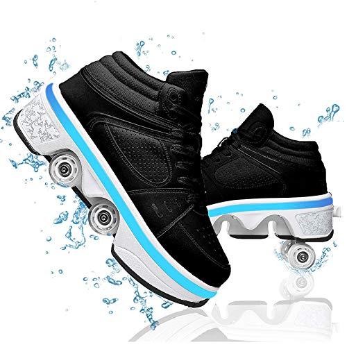 HealHeaters Patines de ruedas de doble fila para niños, zapatos de senderismo automáticos 2 en 1, zapatos de deformación multiusos con luces LED de 7 colores, color negro, 40