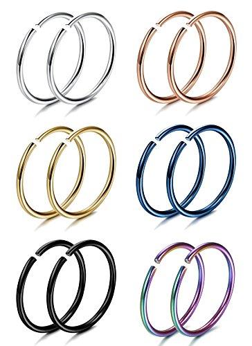 FIBO STEEL 20G 6 Pairs Stainless Steel Body Jewelry Piercing Nose Ring Hoop Nose Piercing