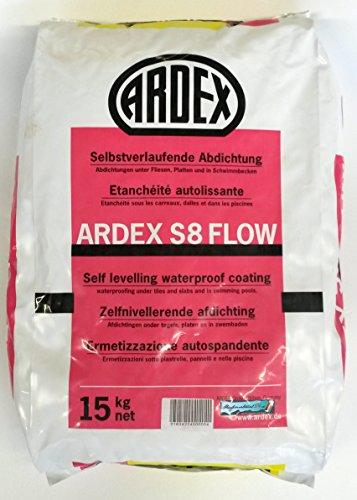 ARDEX S8 Flow, 15kg - selbstglättende Abdichtungsmasse unter Fliesen und Platten für Böden im Innenbereich, Außenbereich und in Schwimmbecken