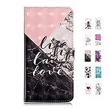 UCool Coque Housse pour Samsung Galaxy S6 Edge Portefeuille Flip Clapet Case Cuir PU Etui Cover Rose Marbre Noir Blanc + Rose 3D Motif Dessin pour Femme Bumper 360 Incassable Antichoc
