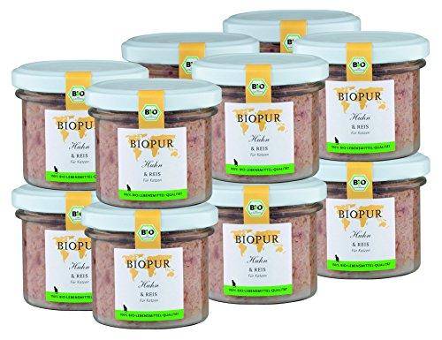 BIOPUR Bio Katzenfutter Huhn & Reis für Katzen 12x100g