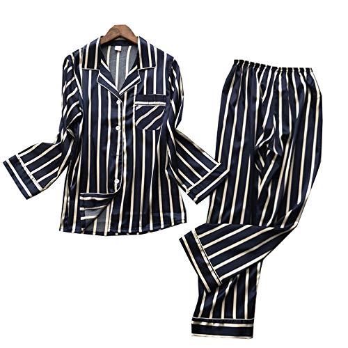WAEKQIANG Moda Mujer Primavera Y Verano Nueva Pareja Pijamas Mujer Manga Larga Fina Seda Hielo Trajes SimulaciN Seda Hielo Y Nieve Seda Servicio A Domicilio Pijamas Sueltos Ocasionales De Primavera
