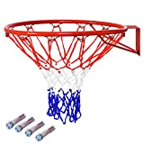 GYMAX Basketball Rim, 18'' Heavy Duty Wall Mounted Basketball Rim 16mm Standard Indoor Outdoor Hanging Basketball Goal...