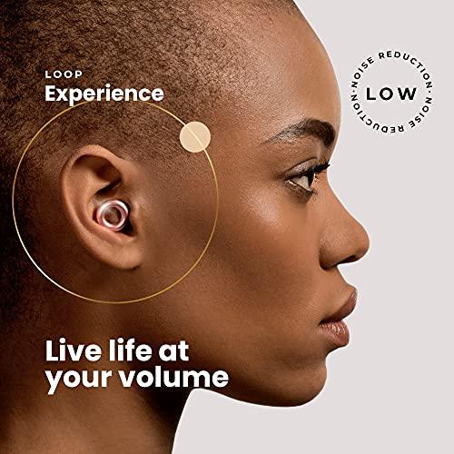 Loop Tapón para los Oídos con Reducción de Ruido - Quita Sonido 18 dB - Accesorios Protección Auditiva, Natación, Concentración, Motos - Auriculares de Silicona y Espuma - Dorado Rosé