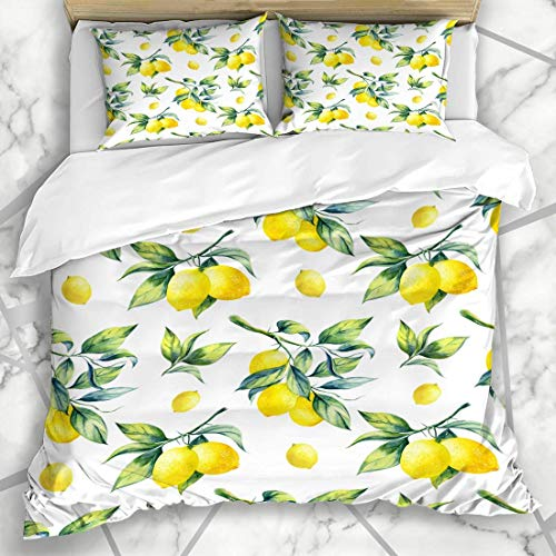 Duvet Cover Sets Botanical Watercolor Fruit Lemon Pattern On Food Juicy Drink Leaf Branch Tree Agriculture Microfiber Bedding with 2 Pillow Shams Easy Care Anti-Allergic Soft Smooth