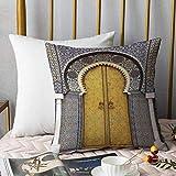 Bedding Fundas de Almohada ,Árabe, puerta dorada del Palacio Real de Fez, Marruecos Vintage marroquí estilo mosaico, multiAlmohada cómodo Sofá rectángulo Funda de Cojín Decoración para El Hogar45x45cm
