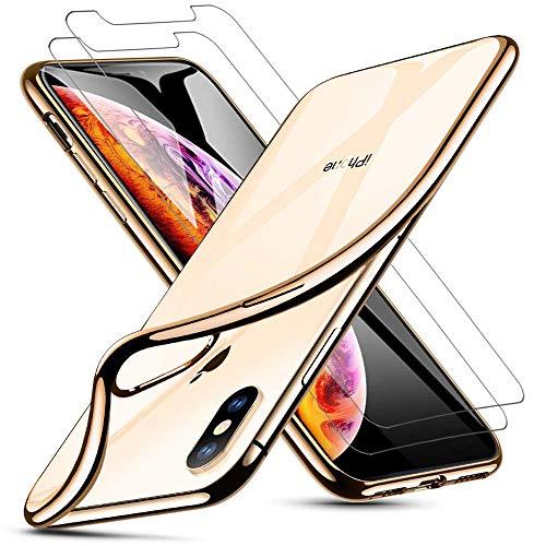 iLiebe Kompatibel für iPhone XS/X Hülle & Panzerglas Set, [1 Handyhülle + 2 Panzerglas], Schutzfolie Glas 9H und Soft Silikon Bumper Cover Handyhülle für iPhone XS/X (5.8 Zoll) - Golden