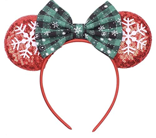 CLGIFT Christmas Minnie ears Holiday Mickey ears, Silver gold blue minnie ears, Rainbow Sparkle Mouse Ears,Classic Red Sequin Minnie Ears (Christmas Red)