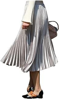 Rushine Chic Metallic Pleated Maxi Satin A-Line Autumn Winter Long Skirt Dress Flow Beach Party Club Evening Work Office Vintage Wear