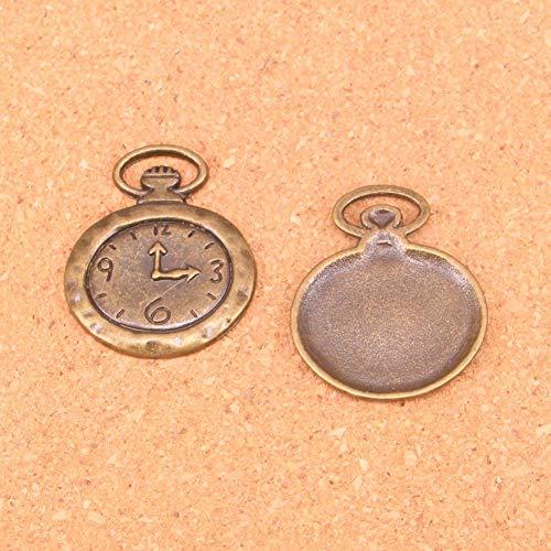 LKJHG 8PCS Antique Bronze Trendy Taschenuhr Charms Halskette Anhänger Herstellung Handmade 32 * 27MM