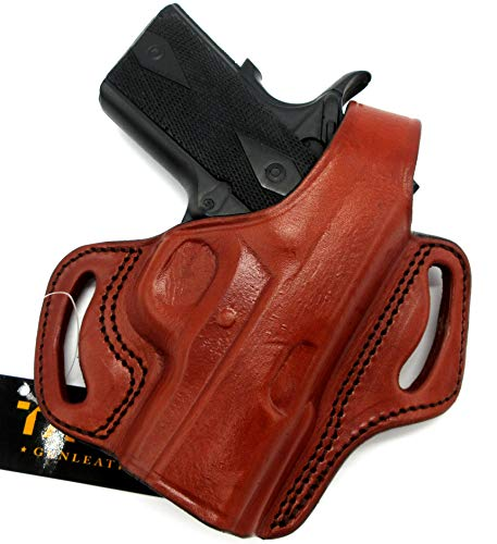 """HOLSTERMART USA TAGUA Right Hand Classic BH1 Brown Leather Thumb Break OWB Belt Holster for 3"""" 1911, Kimber Ultra Carry II, Ultra CDP II, Super Carry Ultra"""