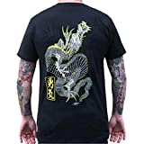 Men's Rise Above by Clark North Dragon Traditional Japanese Tattoo T-Shirt Black