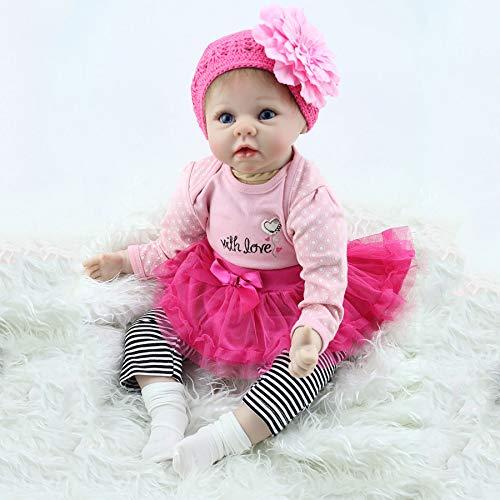 HUJUNG Reborn Baby Life Life Baby Muñecas-22 Pulgadas Realista Bebé Muñeca Real Lifelike Silicone para niñas (Ropa Rosa)