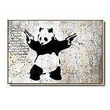 Banksy Graffiti Poster Abstract Panda with Double Guns Graffiti Wall Art Prints Living Room Banksy Decor Black and White Canvas Paintings(No Frame)