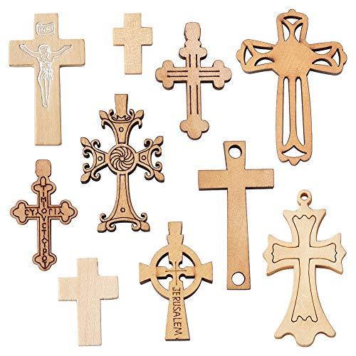 Craftdady - Juego de 100 colgantes de cruz de madera mezclad