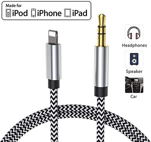 Cable Auxiliar para iPhone Cable Auxiliar para Auto a Jack de 3.5mm para iPhone 11/Pro/8/7/Plus/XS/XR a Radio de Coche/Adaptador de Altavoz/Auriculares Compatible con Todos los iOS - Plateado Negro