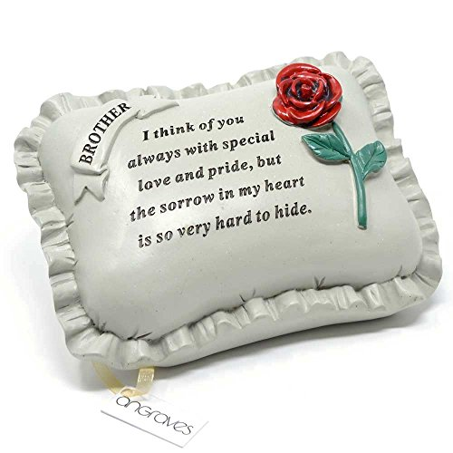 Angraves Special Brother With Rose Pillow Graveside Ornament Memorial Plaque