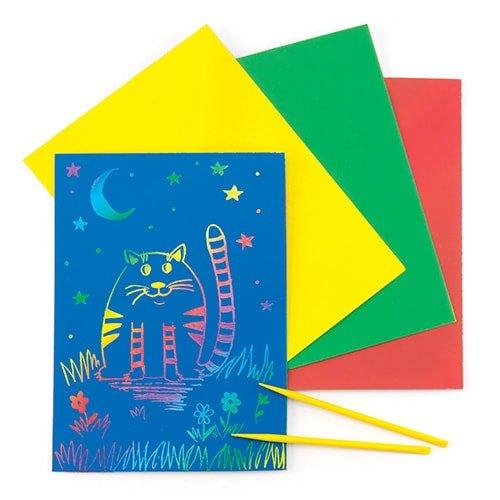 Mehrfarbige Kritzelbogen mit Kratzbild-Funktion für Kinder zum Basteln und Gestalten (8 Stück)