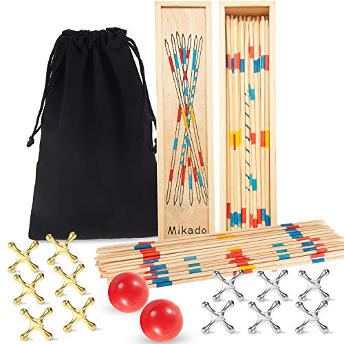 2 Sets Wooden Pickup Sticks Game with Box and 2 Sets Jacks Game Toys Include 2 Pieces Red Rubber Balls and 20 Pieces Metal Jacks for Christmas Retro Party Favors