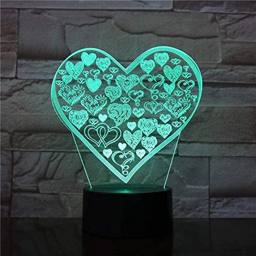 3D ilusión luz led noche lámpara de mesa tipo d amor maravilloso regalo para niños sensor táctil novetly cambio de color con control remoto atmósfera