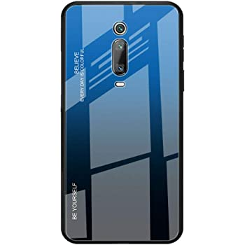 Toppix 対応: Xiaomi Redmi K20 / K20 Pro ケース, 保護カバーTPUフレーム + 強化ガラス製バックカバー [傷の防止] Xiaomi Redmi K20 / K20 Pro用 カバー (ブルーブ, ラック, 反射パターンなし)