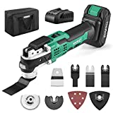 KIMO 20V Cordless Oscillating Multi-Tool, 2.0Ah Battery &Fast Charger, 21000 RPM Variable Speed & 3° Oscillating Angle, LED & Auxiliary Handle, 26pcs Tool Kit for Cutting Wood Nail Scraping Sanding