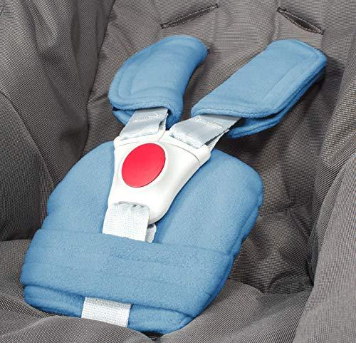 ByBoom - Gurtpolster Set - universal für Babyschale, Buggy, Kinderwagen, Autositz (z.B. Maxi Cosi City SPS, Cabrio, Cybex Aton usw.); In vielen Farben; MADE IN EU, Farbe:Blau