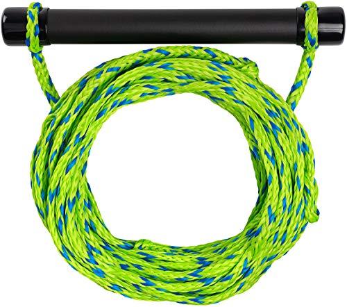 MESLE Wasserski & Wakeboard Leine Set, schwimmfähig, Soft-Griff Hantel, Länge 18,3 m, schwimmend, Zug-Seil Wassersport Schleppleine, grün-blau, Weiss-blau, Farbe:grün blau