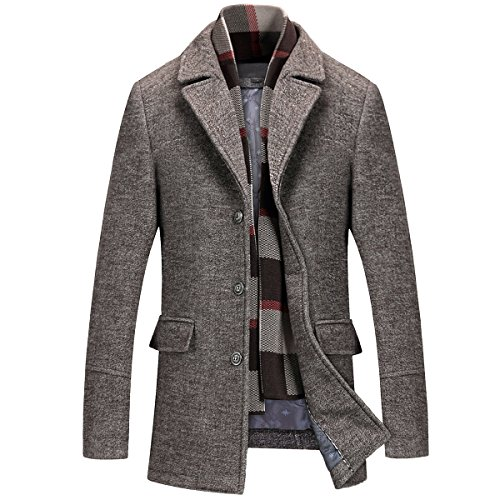 Mirecoo Herren warm Wollmantel Kurzmantel Winter Jacke Business- Gr. L, Kaffeebraun