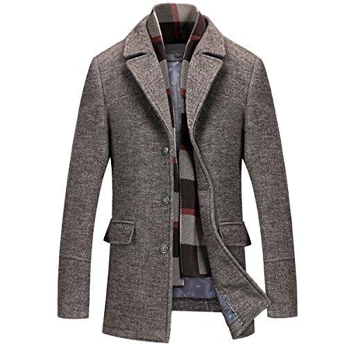 Mirecoo caldo cappotto invernale da uomo, corto, in lana, ideale per il lavoro. caffè M