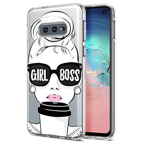 ZhuoFan Samsung Galaxy S10e Hülle, Schutzhülle Silikon Transparent mit Muster Handyhülle Ultra Dünn Slim Stoßfest Weich TPU Bumper Case Backcover für Samsung Galaxy S10e, Mädchen Boss