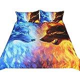 3-teilige Heimtextilien Feuer- und Eisbettwäsche-Set Blaue und gelbe 3D-Bettbezug mit Kissenbezügen Wolf Wölfe-Bett-Set (Single:135 * 200cm /48 * 74cm*2)