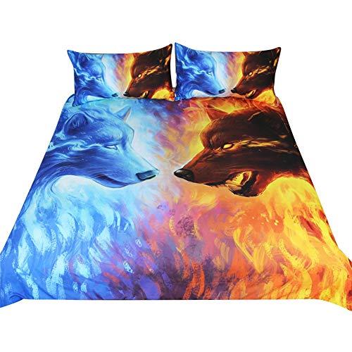 3-teilige Heimtextilien Feuer- & Eisbettwäsche-Set Blaue & gelbe 3D-Bettbezug mit Kissenbezügen Wolf Wölfe-Bett-Set (Single:135 * 200cm /48 * 74cm*2)