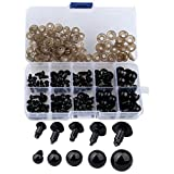 Coogain 100 pcs 6-12 mm Plastic Safety Eyes, Black Safety Eyes Doll Making with 100 pcs Washer for Toy Making...
