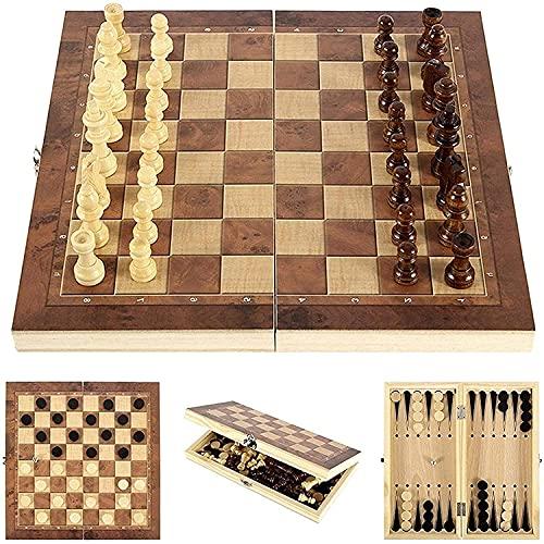 Riyyow Conjunto de ajedrez de 3 en 1 Juego de ajedrez Plegable de Madera y borradores Conjunto de Damas de ajedrez Juego Almacenamiento Interior práctico Ambos Lados Puzzle Juego (Size : 44 * 44cm)