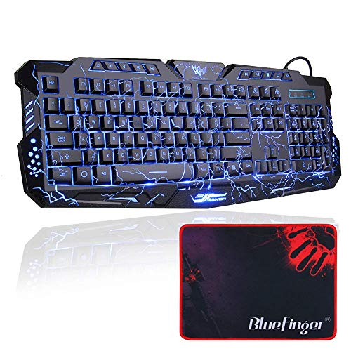 Gaming Keyboard, BlueFinger Mechanical Computer Keyboard USB Wired LED 3 Color Red/Blue/Purple Backlit Gamer...
