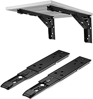 1 to 8 inch Black Foldable Wall Mount Bracket Adjustable Heavy Duty Workbench Furniture Hardware Accessories