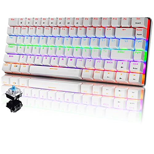PC Teclado Mecánico para Juegos, LED Mezclado con Retroiluminación USB con Cable de 82 Teclas, Anti-Fantasma, Teclado Ergonómico de Computadora Jugar Juegos y Tipeos(Switches Azul, Blanco)