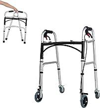 Portable Folding Rollator Walker with Seat 400 lb Capacity Height Adjustable Standard Walker Lightweight 4 Wheel Walker Ro...