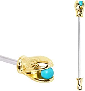 316L Surgical Steel Turquoise Ball Golden Serpent Industrial Barbell (Sold by Piece)