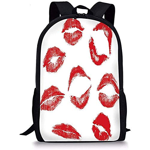 Hui-Shop Sacs d'école Kiss, différentes Marques de Baiser différentes en Rouge Femme séduction Rouge à lèvres Trace Look Grunge usé, Rouge Blanc pour garçons Filles