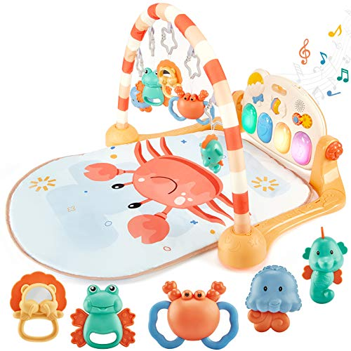Baby Play Mat for Baby Gym Baby Play Gym Activity Floor Mat, Tummy Time Mat Toys & Kick&Play Piano Infant Baby Toys 3-6 Months 0-3 Months Newborn Baby Playmat Baby Activity Center Girl Boy Gifts Stuff