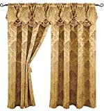 Venice Collections Luxury Jacquard Curtain Panel with Attached Waterfall Valance, 54 by 84-Inch Angelina Gold