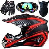 ヘルメットモトクロスヘルメット、取り外し可能なライニングクロスカントリーモトクロスレーシングヘルメット、フルフェイス調整可能なクロスカントリーヘルメットマウンテンバイク、男性用のクールな誕生日プレゼン,赤,XL