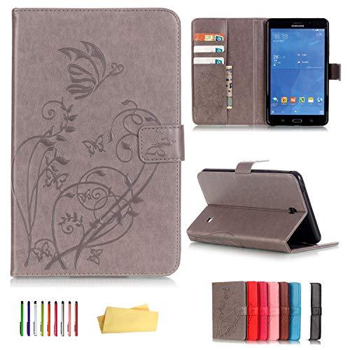 UUcover Schutzhulle fur Samsung Galaxy Tab 4 70 gepragtes Kunstleder Schmetterlings und Blumen Design mit Magnetverschluss und Standfunktion Galaxy tab 4 70 T230 T230 Gray