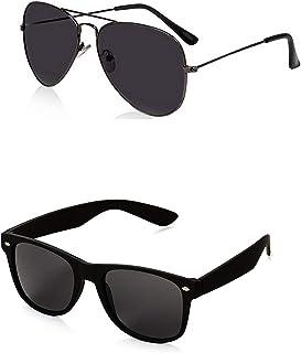 iflash Generic Men's Aviator and Wayfarer Sunglasses(Black) …
