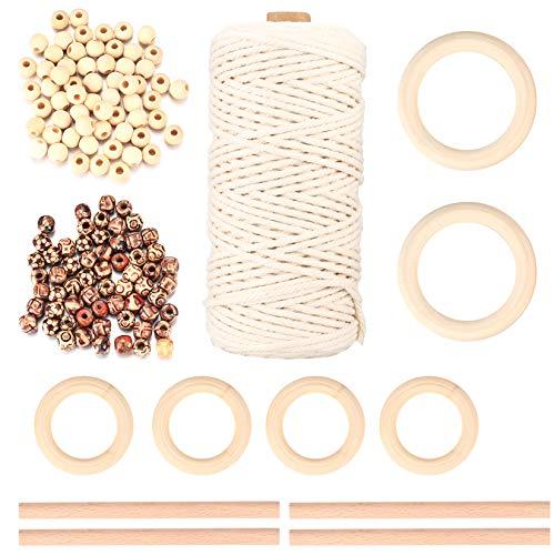 Cordón de macramé natural de 3 mm con 120 piezas de cuentas de madera (2 diseños diferentes) 8 piezas de anillo de madera y 4 piezas