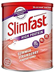 Delicious strawberry shakes to take away at work, gym, school, hotel, or a walk Meal replacement powder Shake. Replace 1 to 2 meals per day as part of the SlimFast 3.2.1. Plan Every serving contains 15g protein, 230 Calories, 23 essential vitamins an...